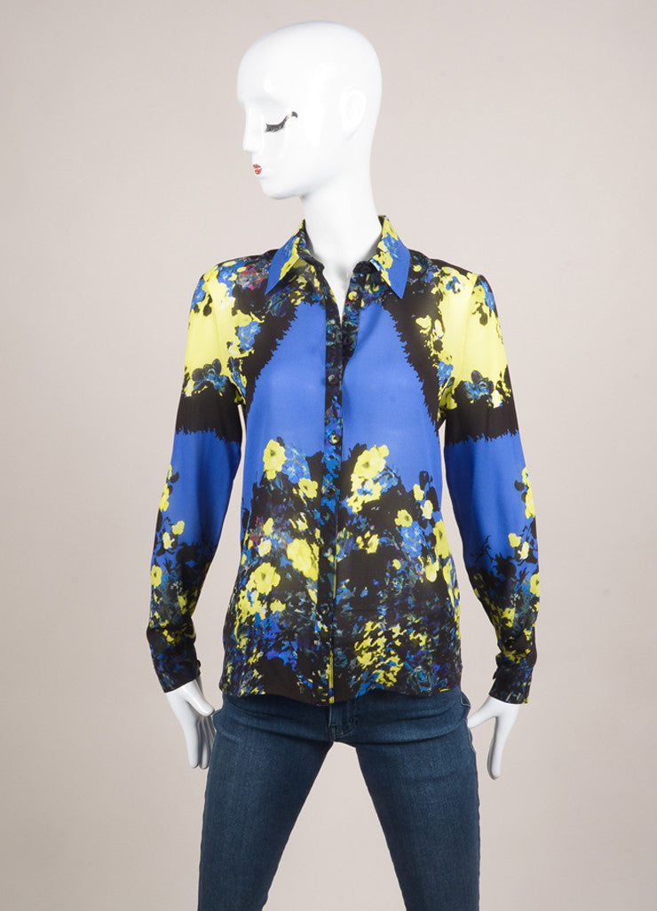 "Erdem New With Tags Multicolor Abstract Floral Print ""Celia"" Long Sleeve Silk Blouse Frontview"