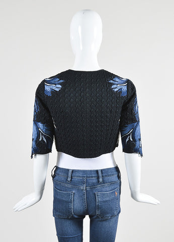 "Erdem Blue and Black Matelasse Embroidered Cropped ""Chessa"" Jacket Backview"
