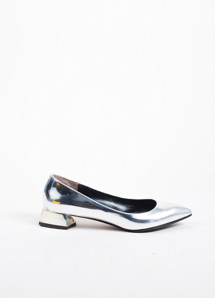 Silver Fendi Metallic Pointed Toe Block Heel Flats Side