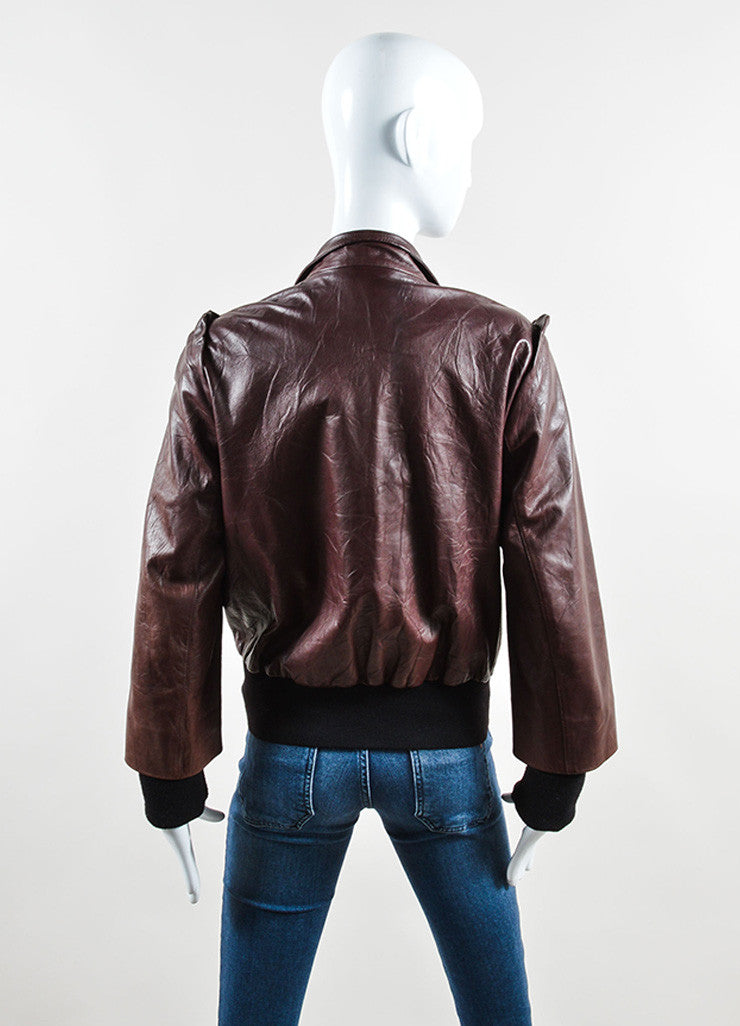Fendi Oxblood and Black Leather and Knit Ruffled Bomber Jacket Backview