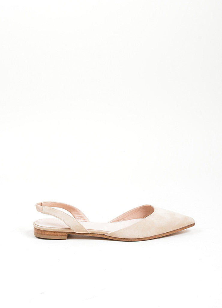 Nude Giambattista Valli Suede Pointed Slingback Flats Sideview