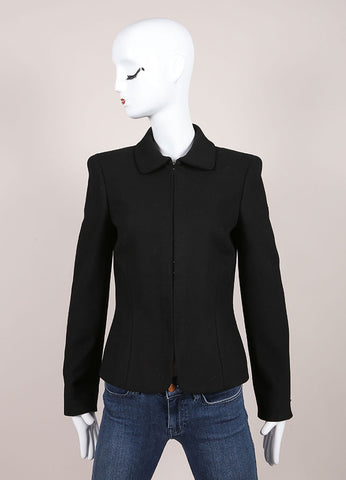 Gianni Versace Black Textured Hook and Eye Wool Blend Blazer Jacket Frontview