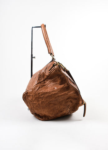 "Tan Givenchy Distressed Leather Crossbody ""Pepe Pandora Messenger"" Bag Sideview"