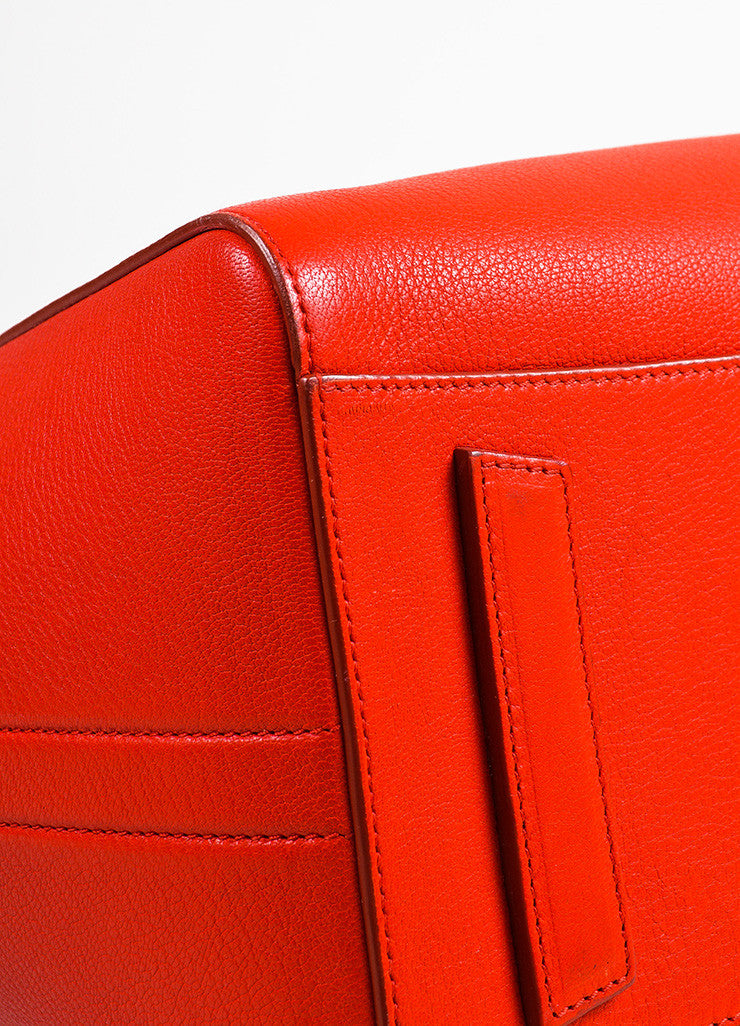 "Givenchy Red and Silver Toned Goat Leather Top Handle Medium ""Antigona"" Bag Detail"