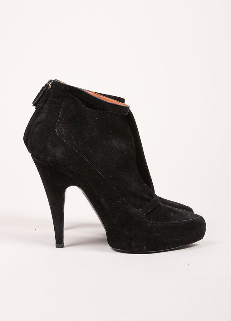 Givenchy Black Suede Ankle Strap Platform Booties Sideview