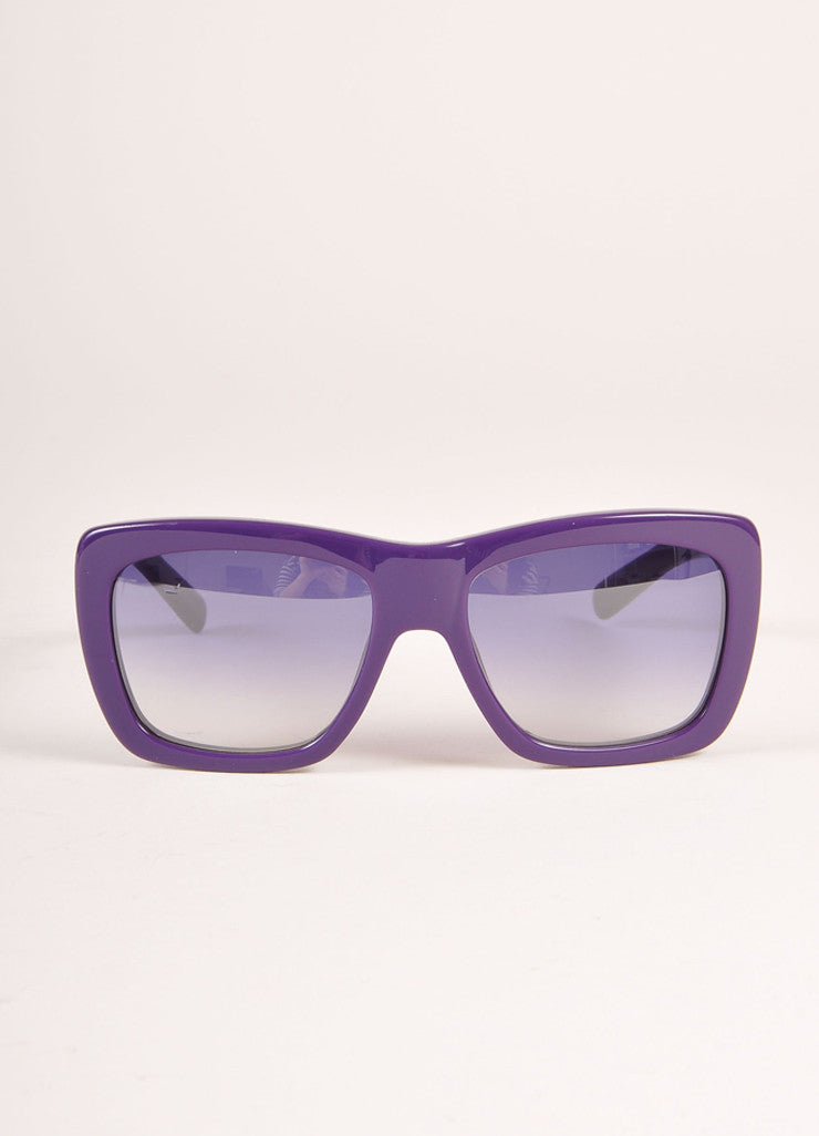 "Givenchy New With Tags Purple Plastic ""SGV 755"" Square Sunglasses Frontview"