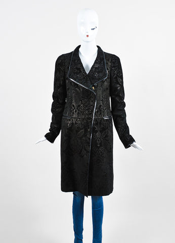 Black Gucci Suede Leather Floral Embossed Long Zip Up Walking Coat Frontview 2