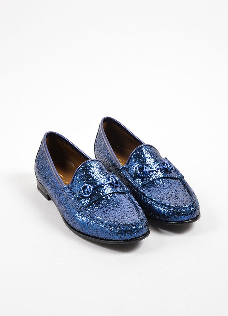 Gucci Navy Blue Glitter Leather Horsebit Buckle Flat Loafers Frontview