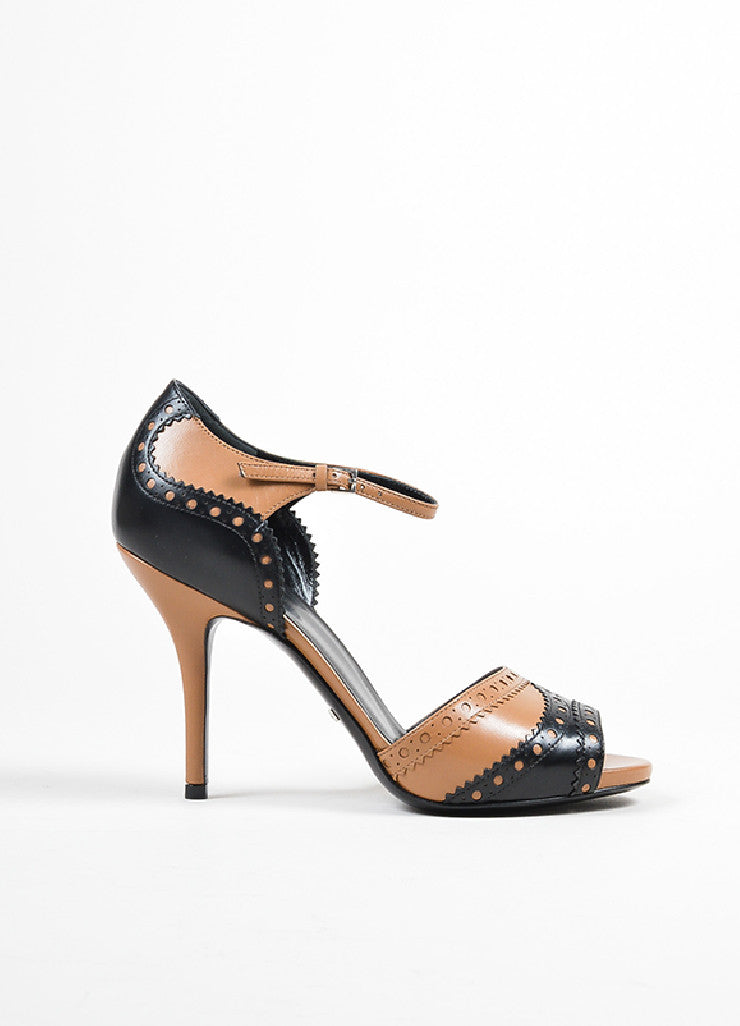 Tan and Black Gucci Leather Brogue Peep Toe Ankle Strap Sandals Sideview
