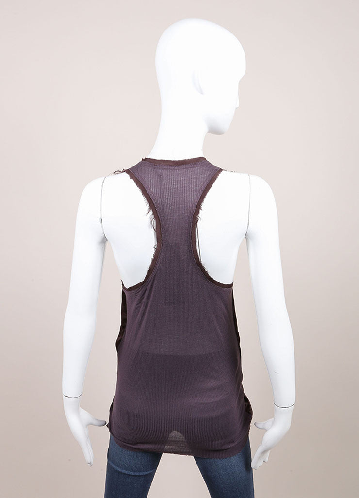 "Haider Ackermann New With Tags Purple Silk Knit ""Nemesis"" Tank Top Backview"