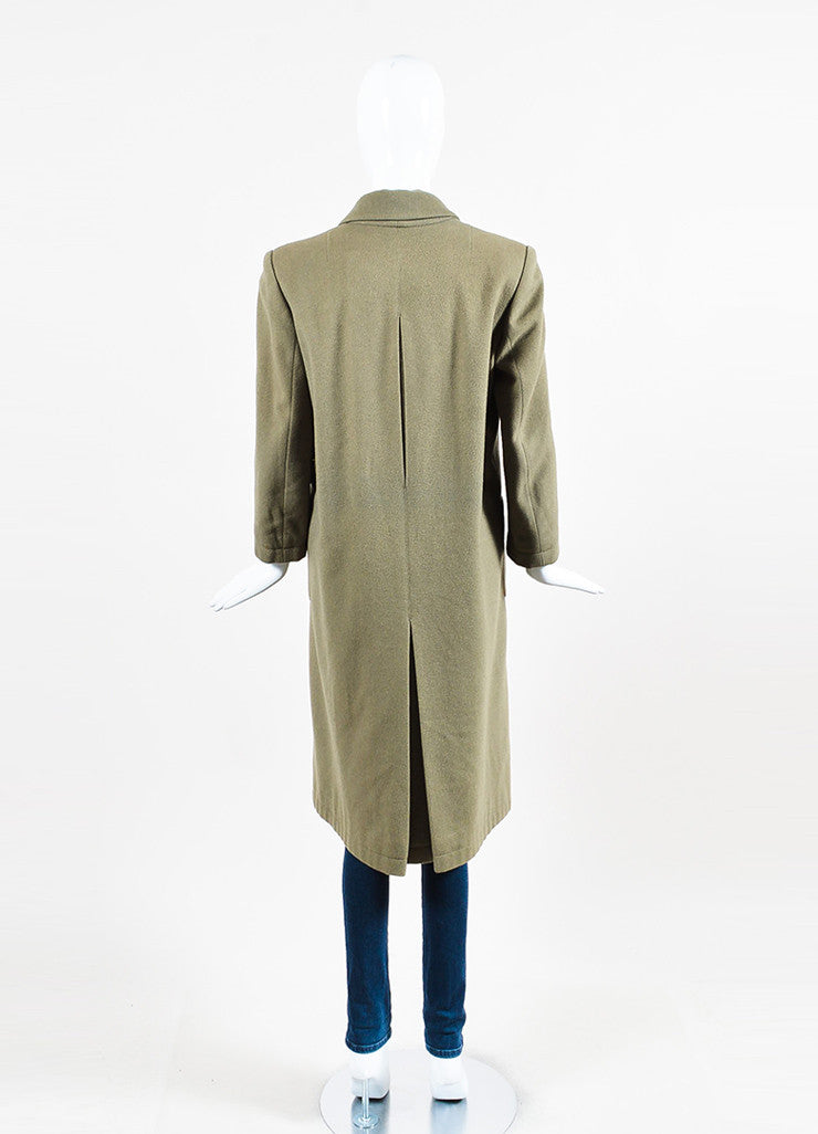 Hermes Olive Green Cashmere Notch Lapel Double Breasted Trench Coat Backview
