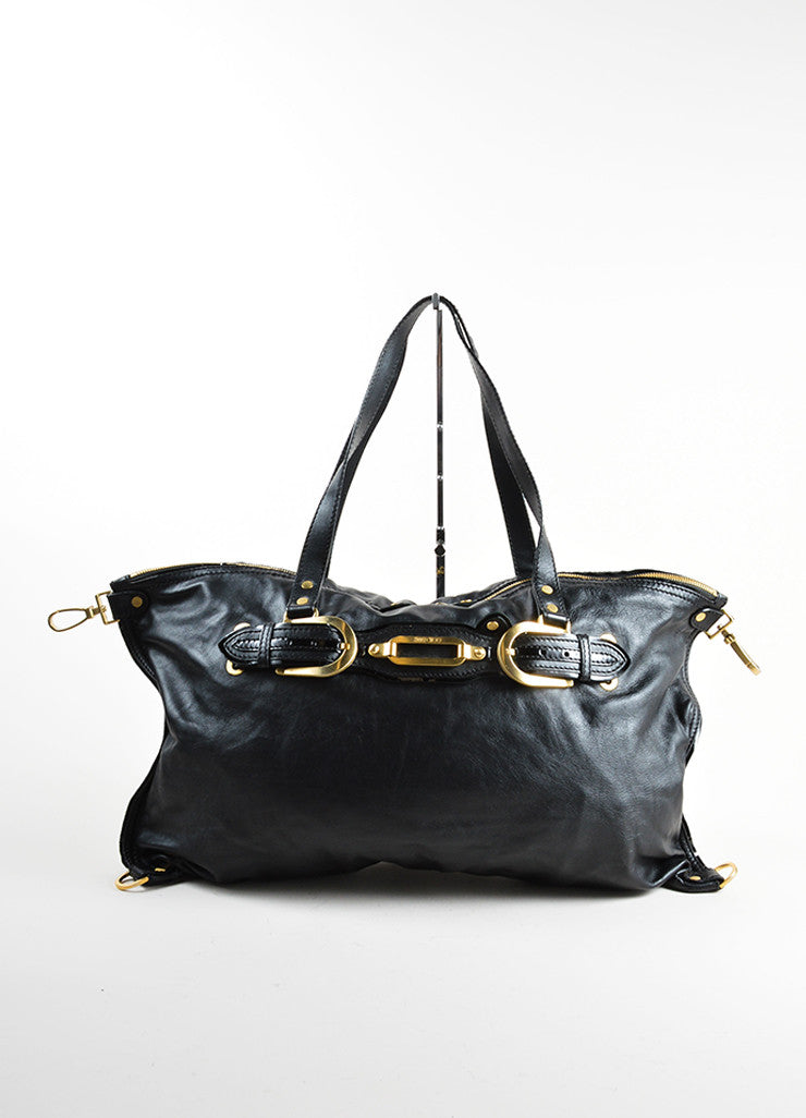 Jimmy Choo Black Leather Slouchy Belted East West Carryall Bag Frontview