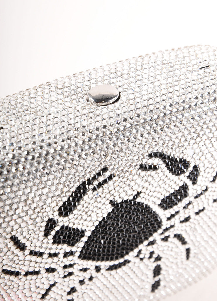 "Judith Leiber Silver Toned and Black Rhinestone ""Cancer"" Minaudiere Clutch Bag Detail"