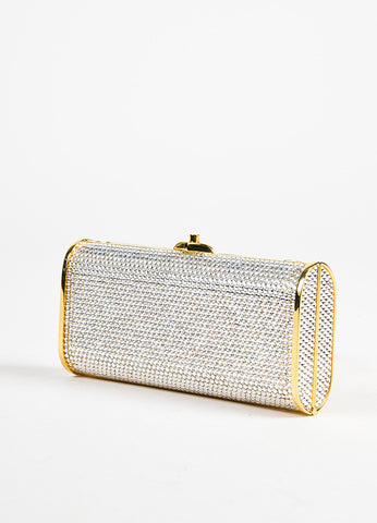 Judith Leiber Silver and Gold Toned Crystal Encrusted Chain Minaudiere Clutch Bag Sideview