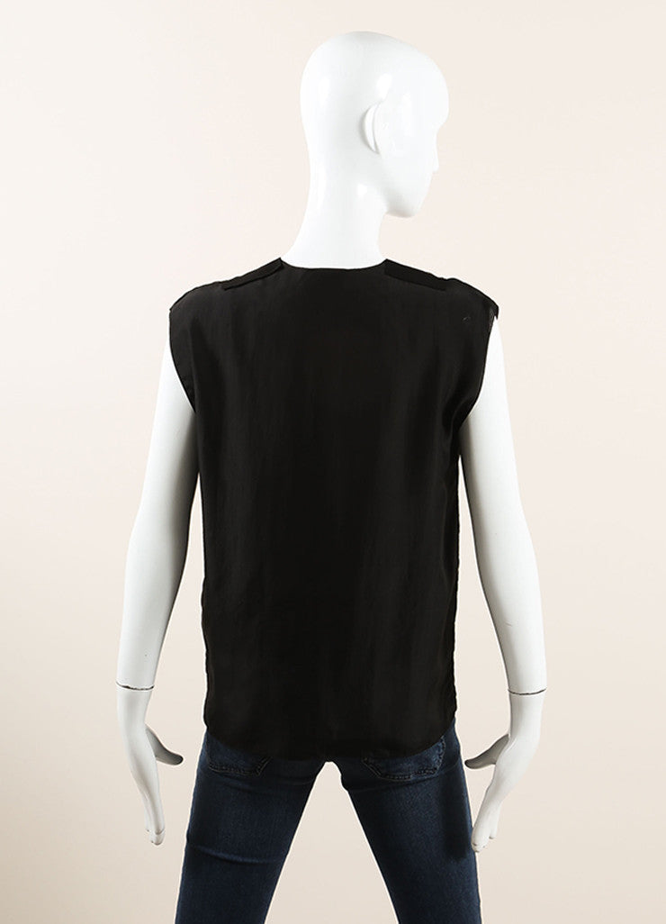 Lanvin Black Silk V-Neck Sleeveless Top Backview