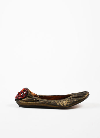 "Lanvin Bronze and Red Rhinestone Heart ""10th Anniversary"" Ballet Flats Sideview"