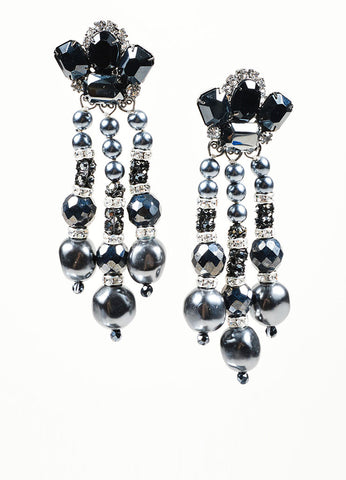 Black and Grey Lawrence VRBA Dangle Statement Earrings Front