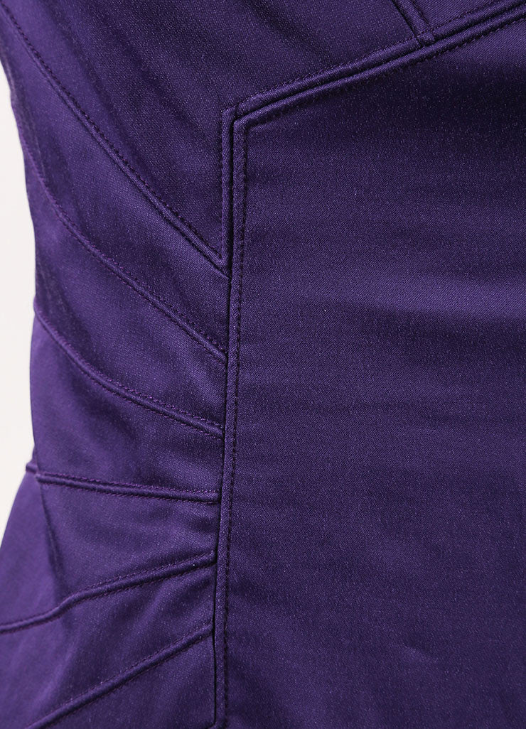 Lela Rose New With Tags Dark Purple Paneled Split Neck Sleeveless Sheath Dress Detail