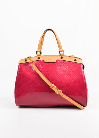 "Louis Vuitton Berry Pink Tan Monogram Vernis Leather ""Brea MM"" Tote Bag Frontview"