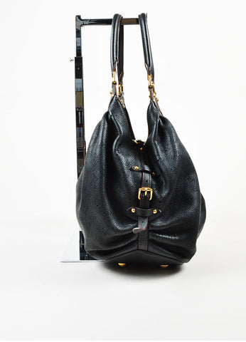"Louis Vuitton Black ""Mahina"" Leather Monogram ""L"" Hobo Shoulder Bag Sideview"