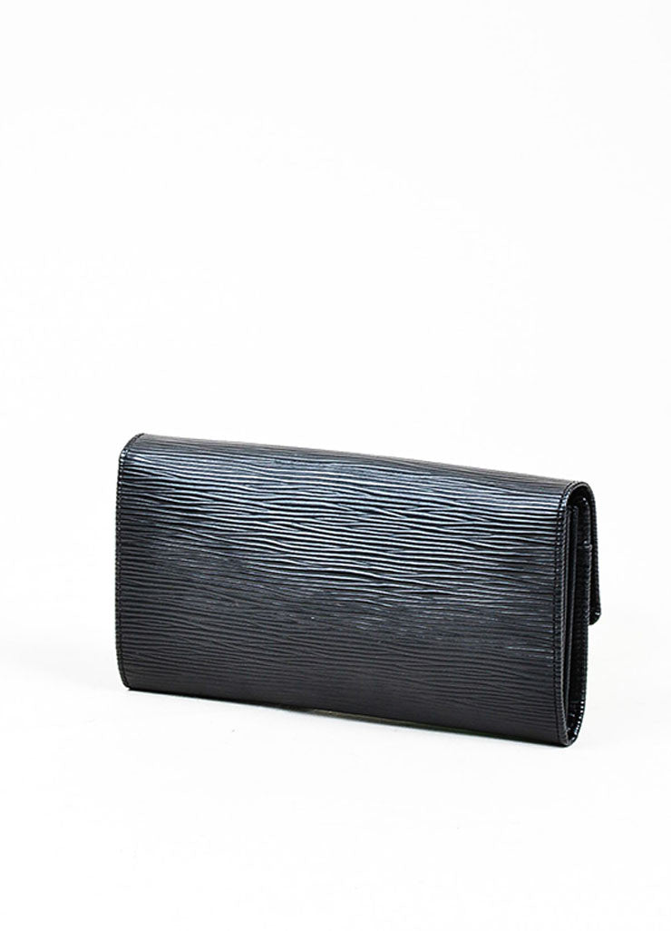 "Black ¥éËLouis Vuitton Textured Leather ""Epi"" Long Snap Wallet Backview"