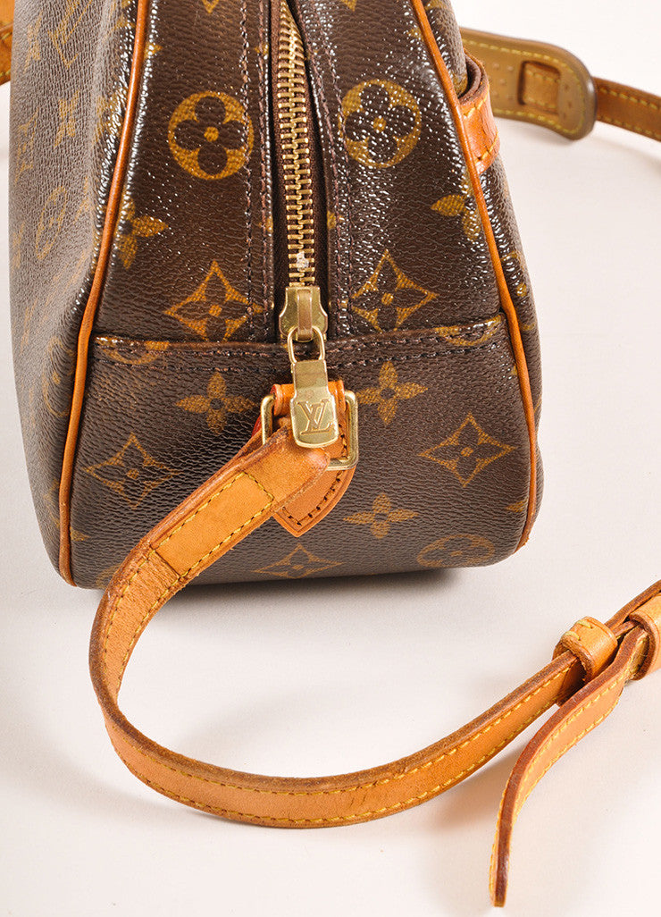 "Louis Vuitton Brown and Tan Coated Canvas Leather Monogram ""Blois"" Crossbody Bag Detail 2"