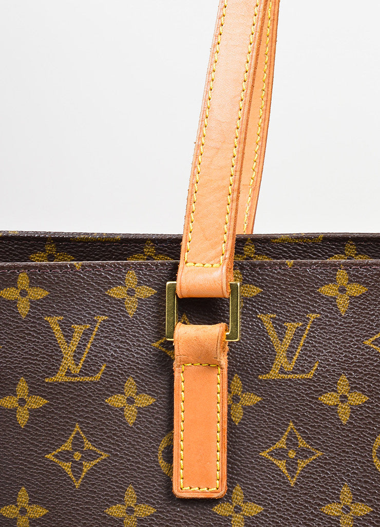"Brown and Tan Louis Vuitton Coated Canvas Monogram Logo ""Luco"" Tote Bag Detail 2"