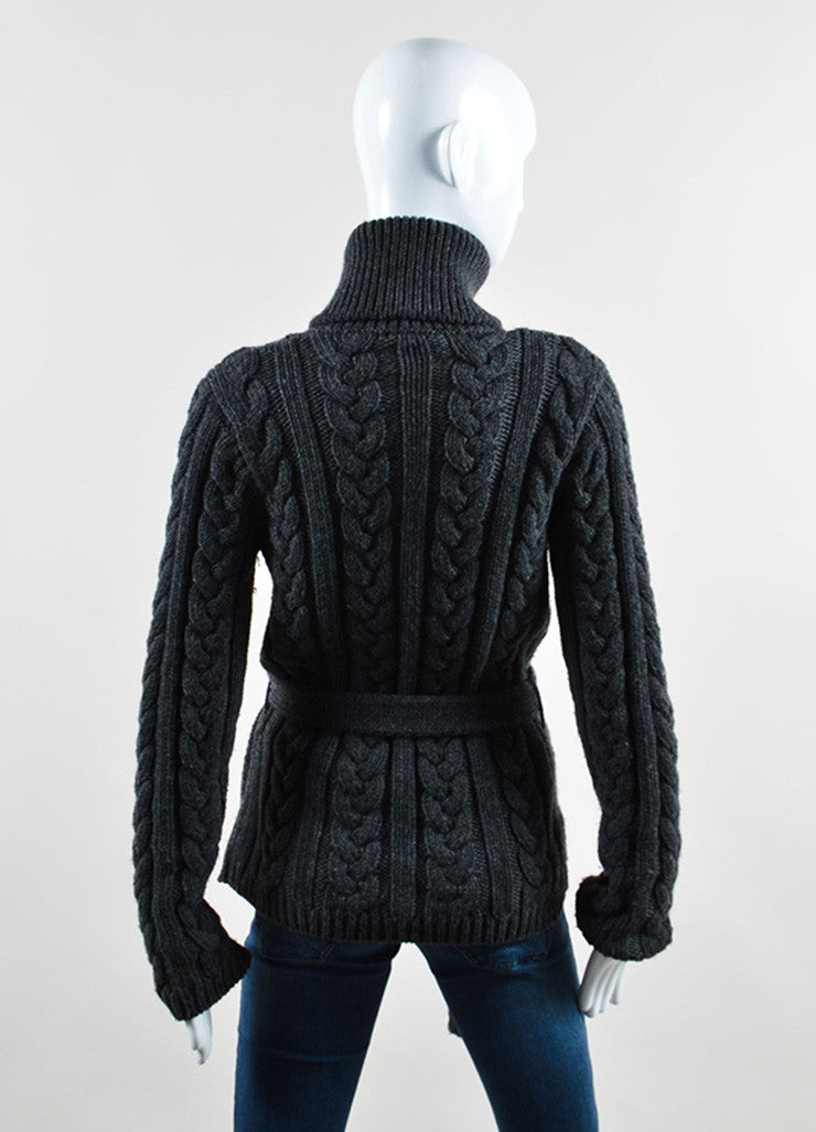 Louis Vuitton Grey Wool Cable Knit Belted Cardigan Backview