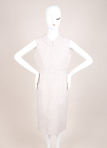 Marc Jacobs Beige Woven Sleeveless Collared Sheath Dress Frontview