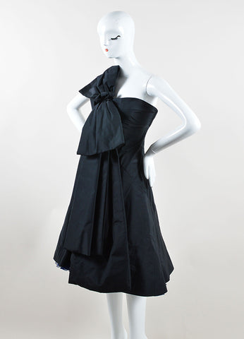 Marc Jacobs Black and Navy Blue Silk Oversized Bow One Shoulder Cocktail Dress Sideview