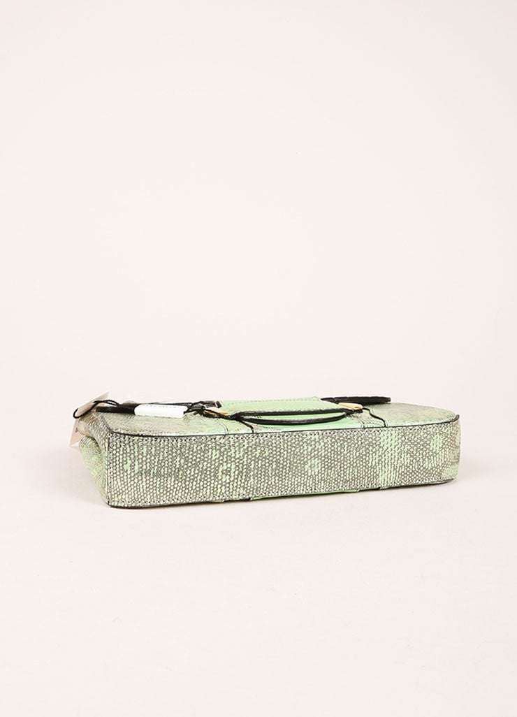 "Marc Jacobs New With Tags Green and Silver Reptile Leather Metallic ""Ruby"" Clutch Bag Bottom View"
