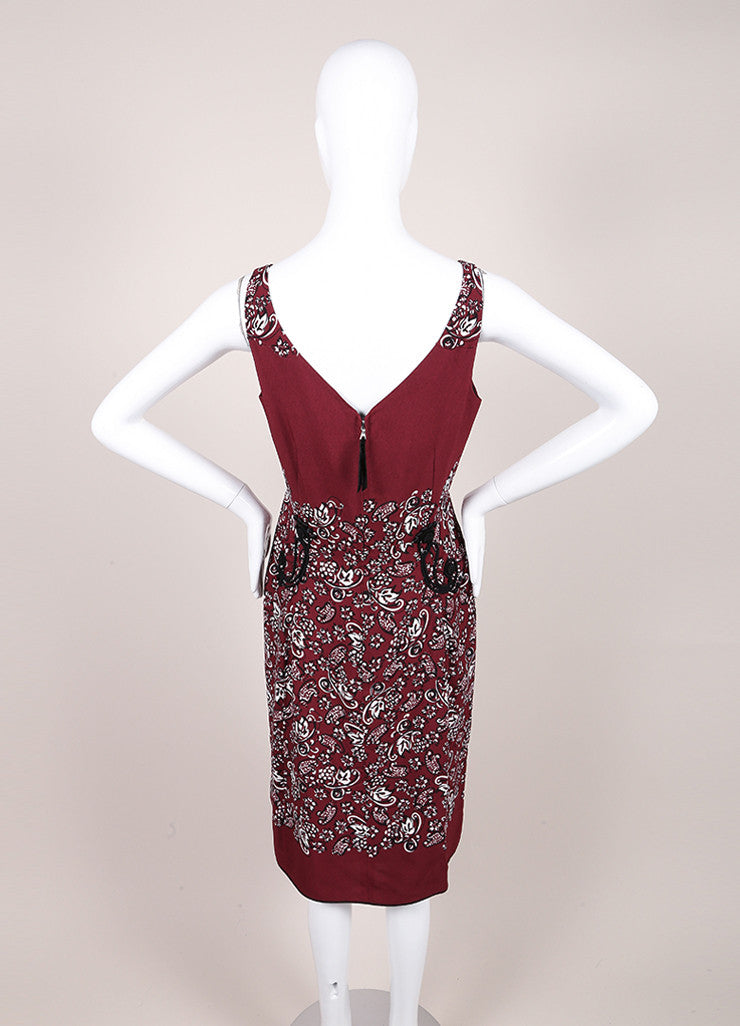 Marc Jacobs New With Tags Maroon, Black, and White Crepe Paisley Print Sheath Dress Backview