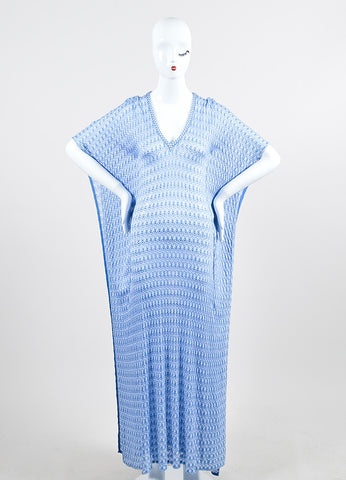 Blue and White Missoni Mare Open Knit Short Sleeve Kaftan Cover Up Beach Dress Frontview