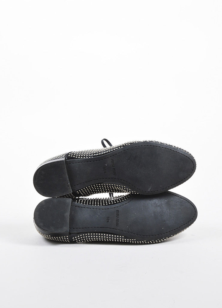 Miu Miu Black Patent Leather and Silver Toned Studded Lace Up Oxfords Outsoles