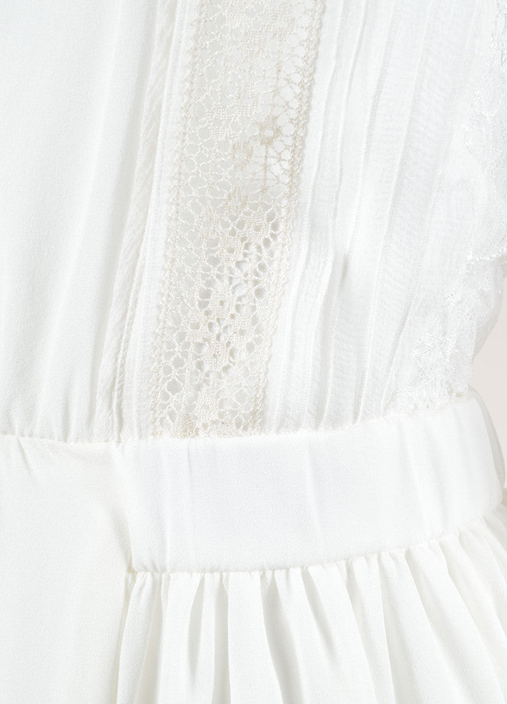 Nina Ricci White Silk Embroidered Lace Pleated Short Sleeve Dress Detail