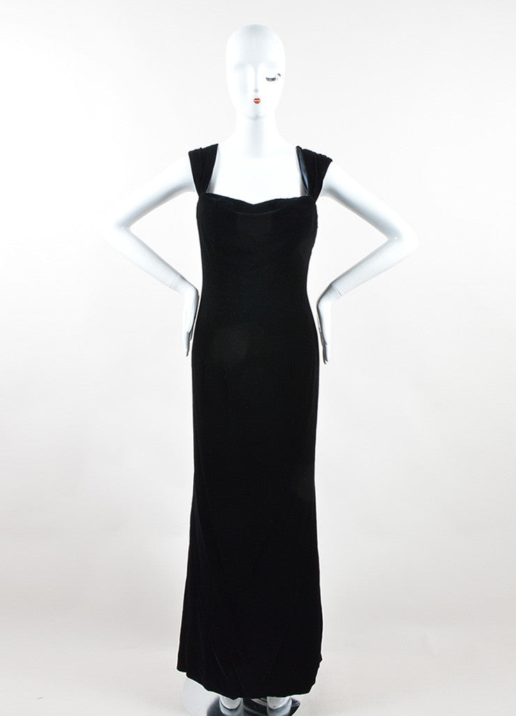 Oscar de la Renta Black Velvet Draped Full Length Sleeveless Gown Frontview