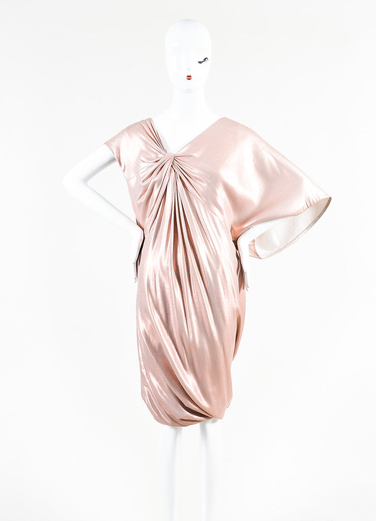 Pink Metallic Ports 1961 Silk Ruched Asymmetrical Sleeve Dres
