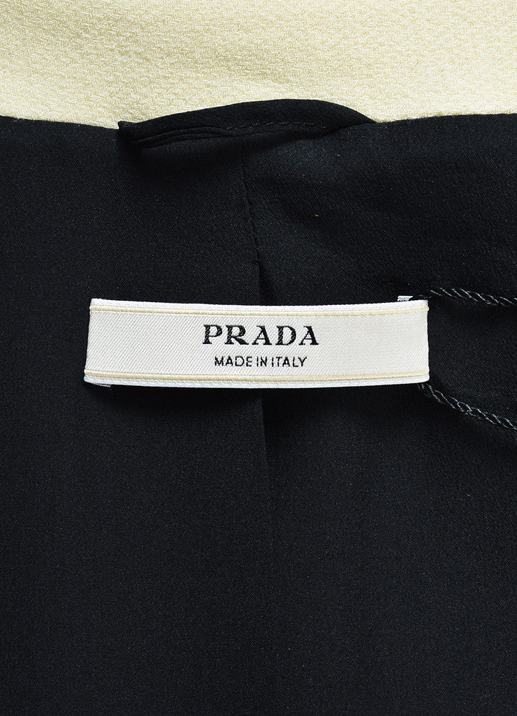 Prada Black and Cream Wool Mottled Abstract Design Flap Pocket Coat Brand