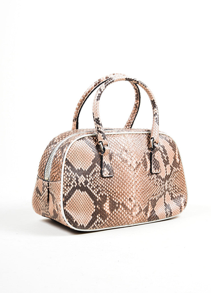 Pink and Black Prada Python Leather Top Handle Mini Bowler Satchel Bag Sideview
