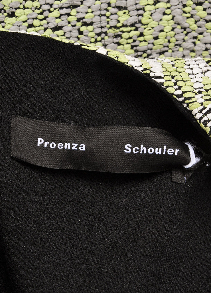Proenza Schouler New With Tags White and Green Zig Zag Plaster Jacquard Dress Brand
