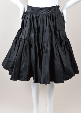 Ralph Lauren Purple Label Black Silk Taffeta Tiered Full Mini Skirt Frontview
