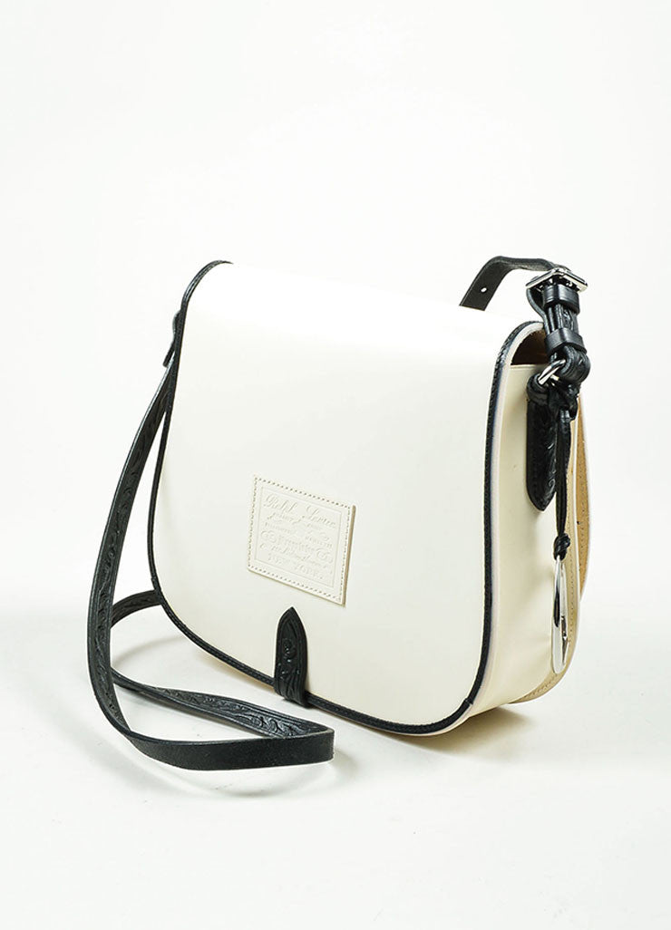 Black and White Ralph Lauren Leather Flap Cross Body Saddle Bag Sideview