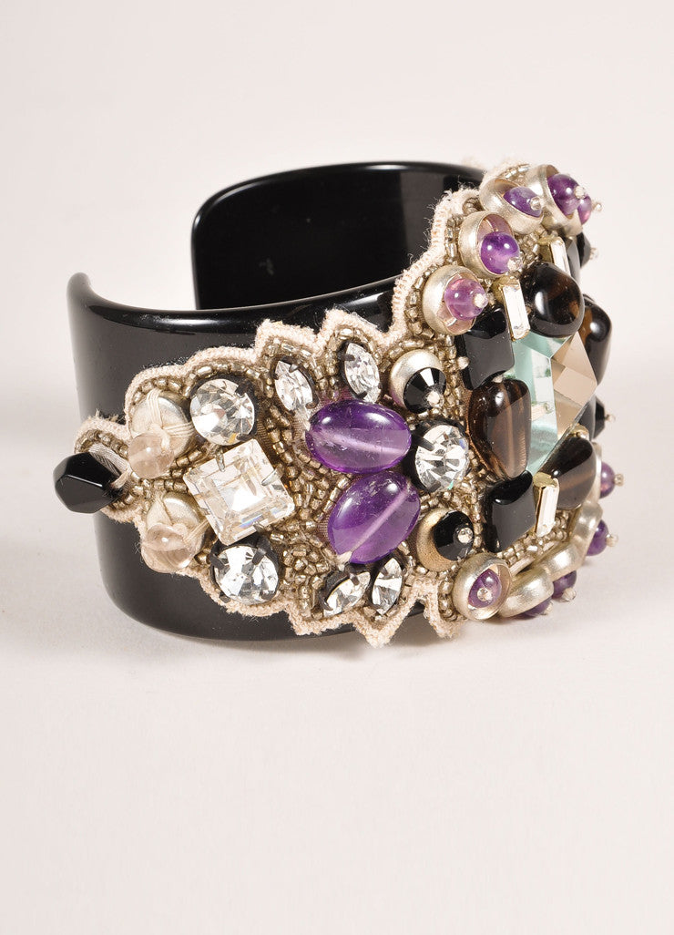 Ranjana Khan New Black and Purple Rhinestone Beaded Cuff Bracelet Sideview