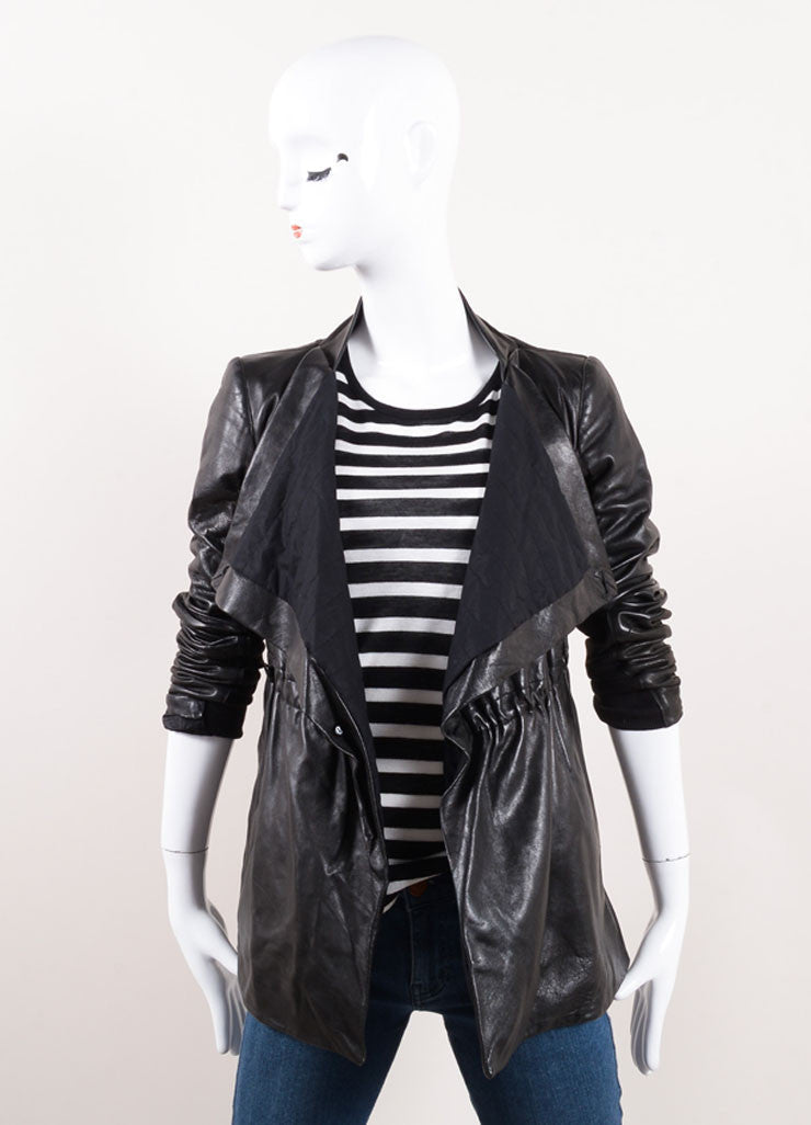 Rick Owens Black Leather Knit Trim Draped Ruched Long Sleeve Jacket Frontview