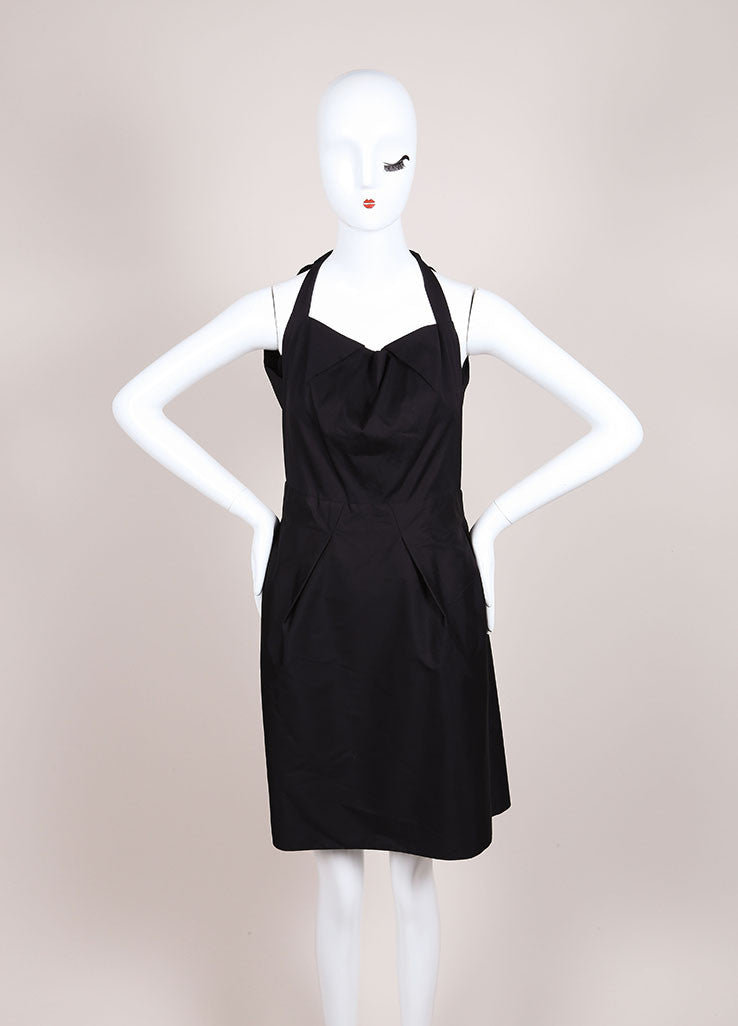 "Roland Mouret New With Tags Black Sleeveless Pleated Poplin ""Felis"" Dress Frontivew"