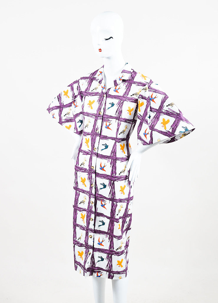 "Stella Jean Multicolor Bird Print ""Sommelier Chemisier"" Shirt Dress Front"