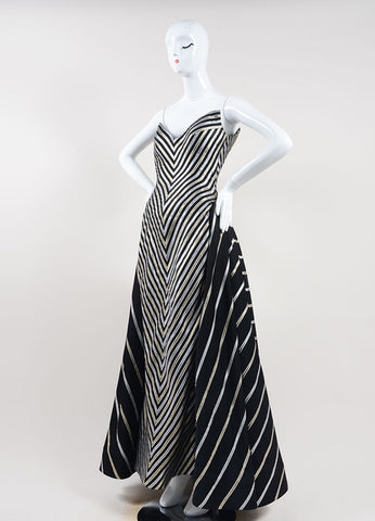 Bob Mackie Black, Gold, and Silver Stripe Metallic Full Length Strapless Gown Sideview