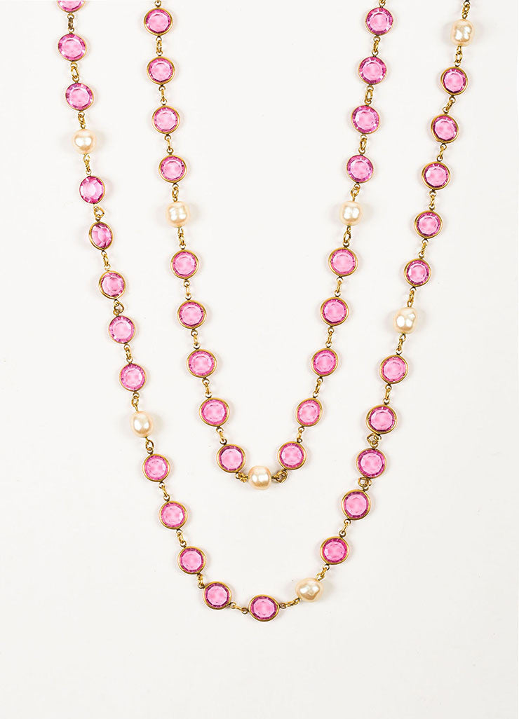 Gold Toned and Pink Chanel Crystal Faux Pearl Long Single Strand Necklace Detail