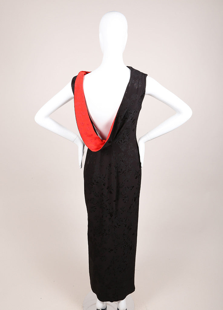 Gianni Versace Black and Red Floral Embroidered Asymmetrical Dress Backview