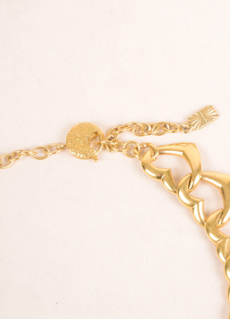 Yves Saint Laurent Gold Toned Link Open Heart Chain Necklace Closure